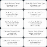 """Simple Wedding Guest Address Labels<br><div class=""""desc"""">Add your guests' names and addresses to these labels by copy and pasting or typing in individually. You will receive 10 labels per sheet at approximately 3""""x1"""". You will need to order one sheet per 10 guests. Please contact me directly at info@lemontreecards.com for custom design/color requests to match your wedding...</div>"""
