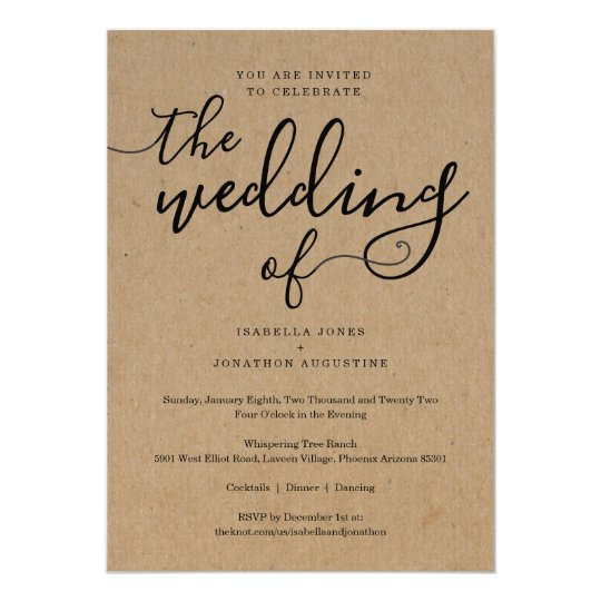 Gift Registry Cards In Wedding Invitations: Simple Wedding Invitation With RSVP On Kraft Paper