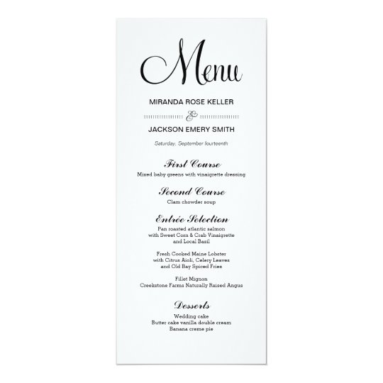 Simple Wedding Menu  Elegant Wedding Menu Card  ZazzleCom