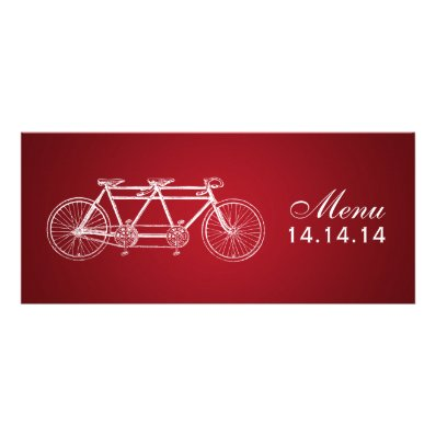 Simple Wedding Menu Tandem Bike Red Announcement
