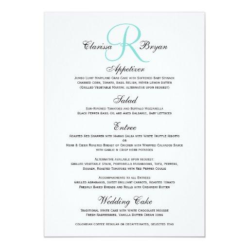 Simple Wedding Menu with Blue Monogram Initial #2 5x7 Paper Invitation Card