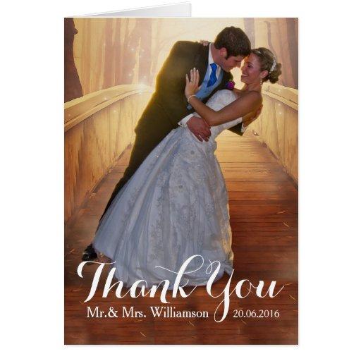 simple wedding photo thank you card zazzle