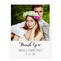 Simple Wedding Photo Thank You Postcard