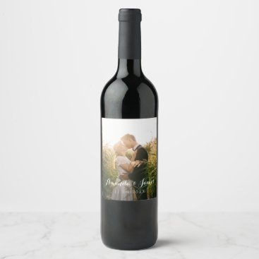 CrispinStore Simple Wedding Photo Wine Label