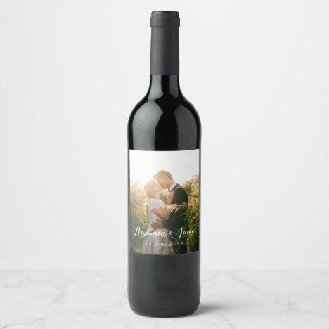 Simple Wedding Photo Wine Label