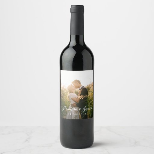 Simple Wedding Photo Wine Label