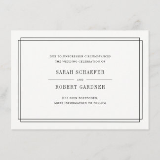 Simple Wedding Postponement Announcement Card