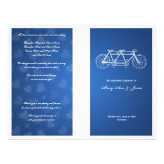Simple Wedding Program Tandem Bike Blue