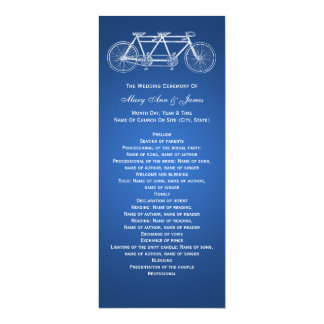 Simple Wedding Program Tandem Bike Blue