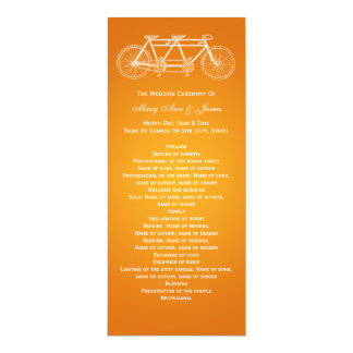 Simple Wedding Program Tandem Bike Orange