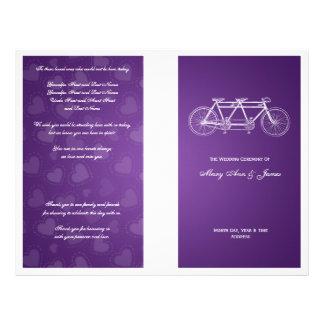 Simple Wedding Program Tandem Bike Purple