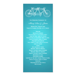 Simple Wedding Program Tandem Bike Turquoise