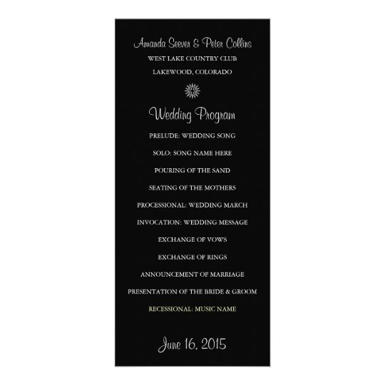 Simple Wedding Programs (Black)
