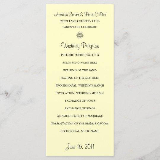 simple wedding programs cream zazzle com