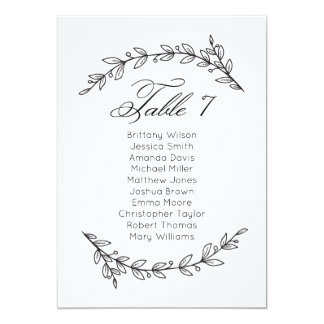 Simple wedding seating chart floral. Table plan 7 Invitation