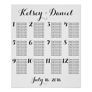 Simple Wedding Seating Chart Poster
