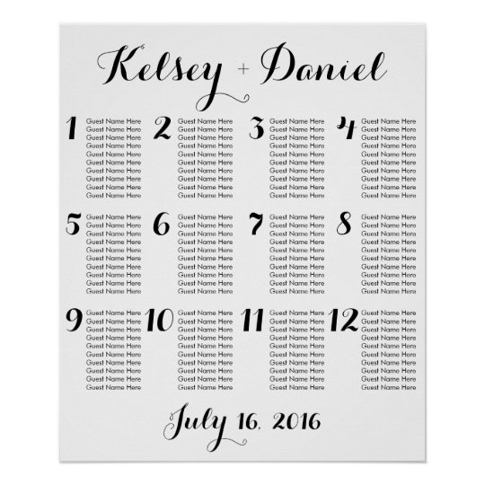 Simple wedding seating chart poster zazzle com