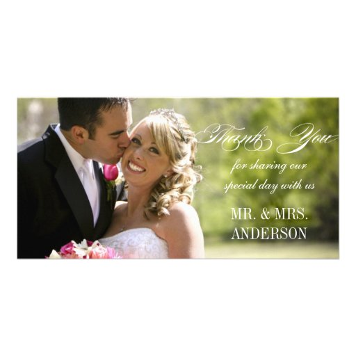 simple wedding thank you personalized photo card zazzle