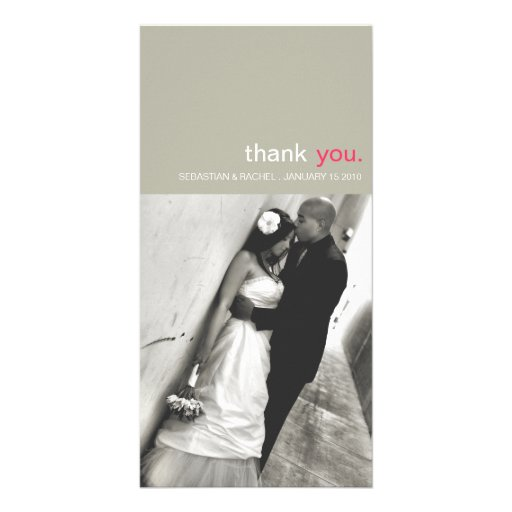 simple wedding thank you photo card vertical zazzle
