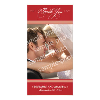 Simple Wedding Thank You Photocard (cranberry) Photo Card