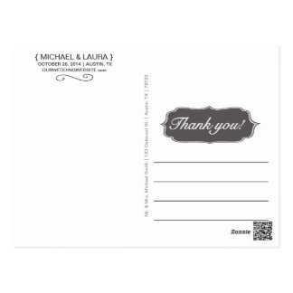 Simple Wedding Thank You Post Card