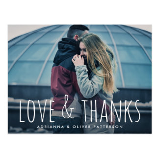 Simple Whimsical Love And Thanks Script Photo Postcard