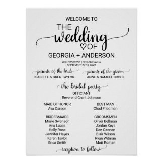 Simple White and Black Calligraphy Wedding Program Poster