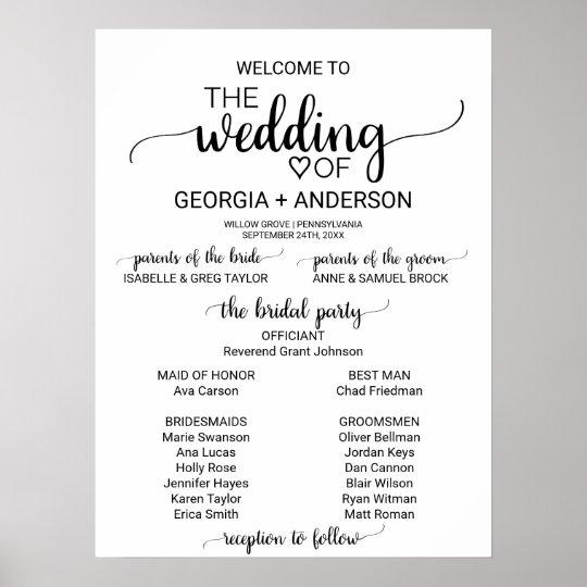 simple white and black calligraphy wedding program poster zazzle com