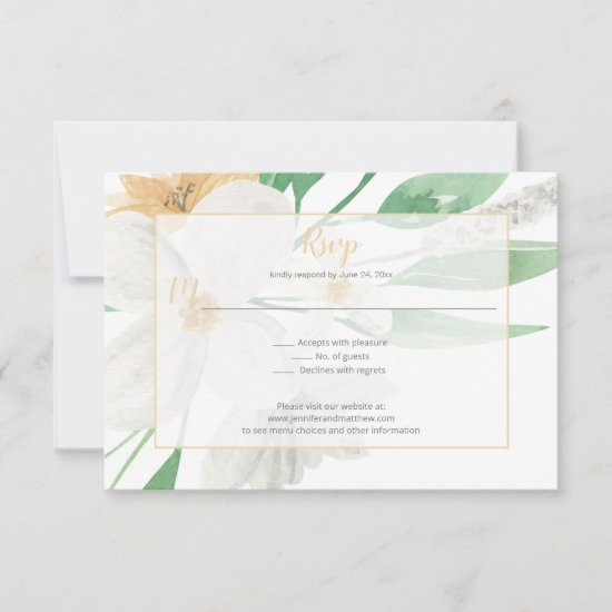 Simple White and Champagne Blooms Greenery II RSVP Card
