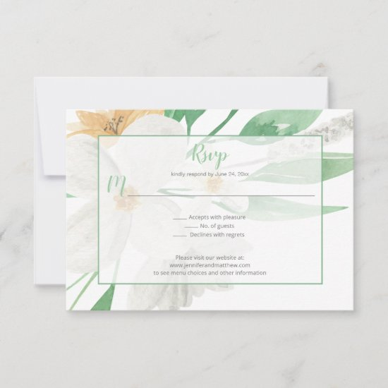 Simple White and Champagne Blooms Greenery | RSVP Card