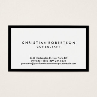 Simple White Black Border Consultant Business Card