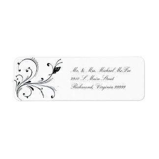 Simple White Black Butterfly Scroll Avery Label Return Address Label