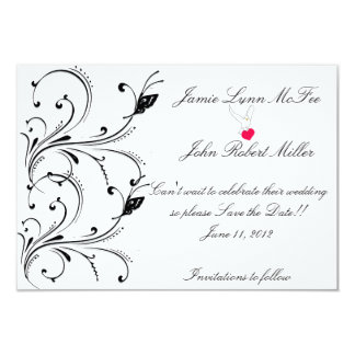 Simple White Black Butterfly Scroll Save the Date  Card