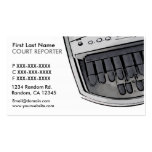 Simple white black court reporter business cards