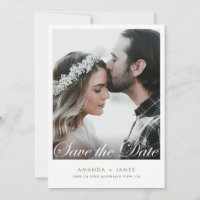 Simple White Border Elegant Script Photo Custom Save The Date