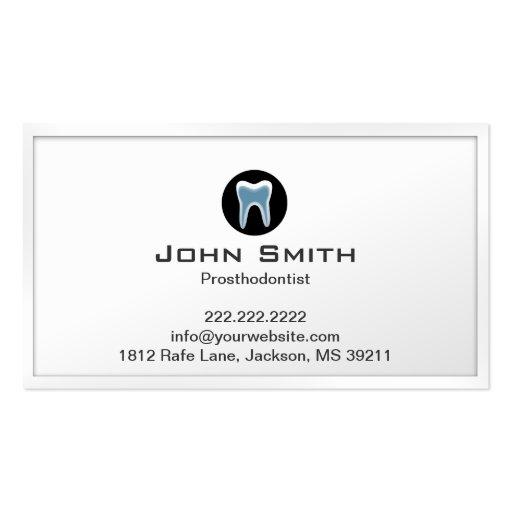 Simple White Border Prosthodontist Business Card