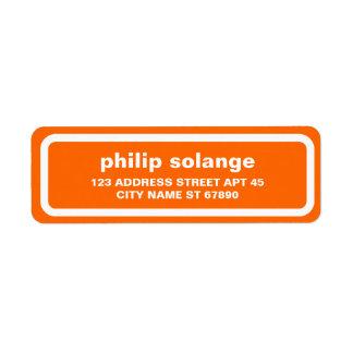 Simple White Border Return Address Label, Orange Label