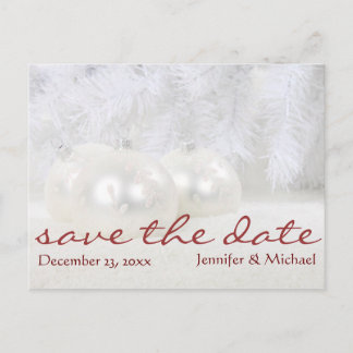 Simple White Christmas Winter Save the Date Announcement Postcard