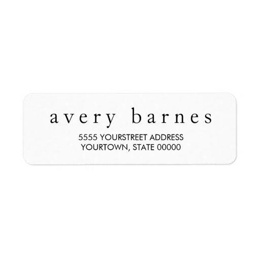 Simple White Creative Professional Modern Custom Return Address Labels