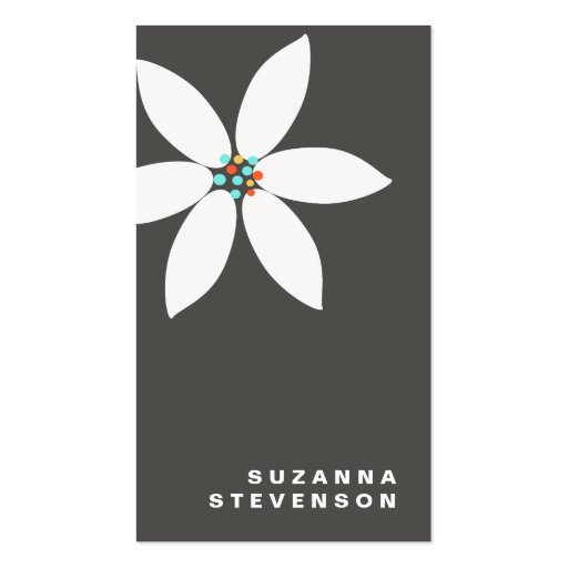 Simple White Daisy Flower Black Business Card