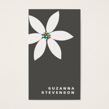 Professional Business Simple White Daisy Flower Black Business Card