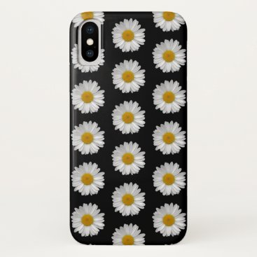 Simple White Daisy Flowers on Black iPhone XS Case