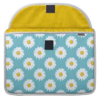 Simple White Daisy on Blue Pattern Sleeve For MacBooks