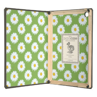 Simple White Daisy on Green Pattern Cover For iPad Air