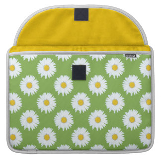 Simple White Daisy on Green Pattern Sleeve For MacBook Pro