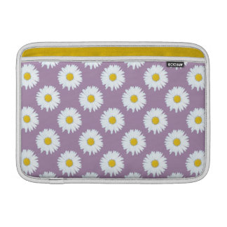 Simple White Daisy on Purple Pattern Sleeve For MacBook Air