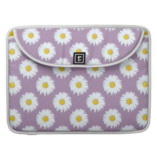 Simple White Daisy on Purple Pattern Sleeve For MacBooks