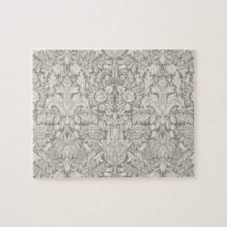 Simple White Damask Floral Pattern Jigsaw Puzzle