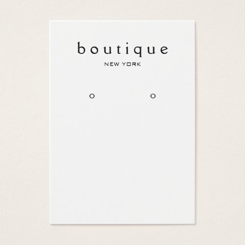 Simple White  Earring Display Card