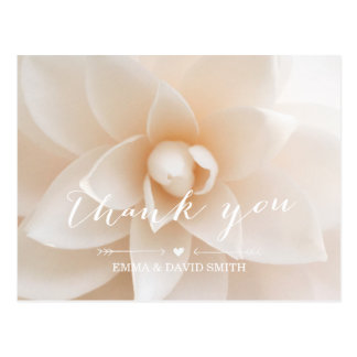 Simple White Floral Wedding Thank You Postcard